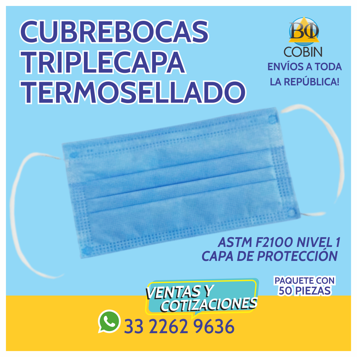 Cubrebocas Triplecapa Termosellado