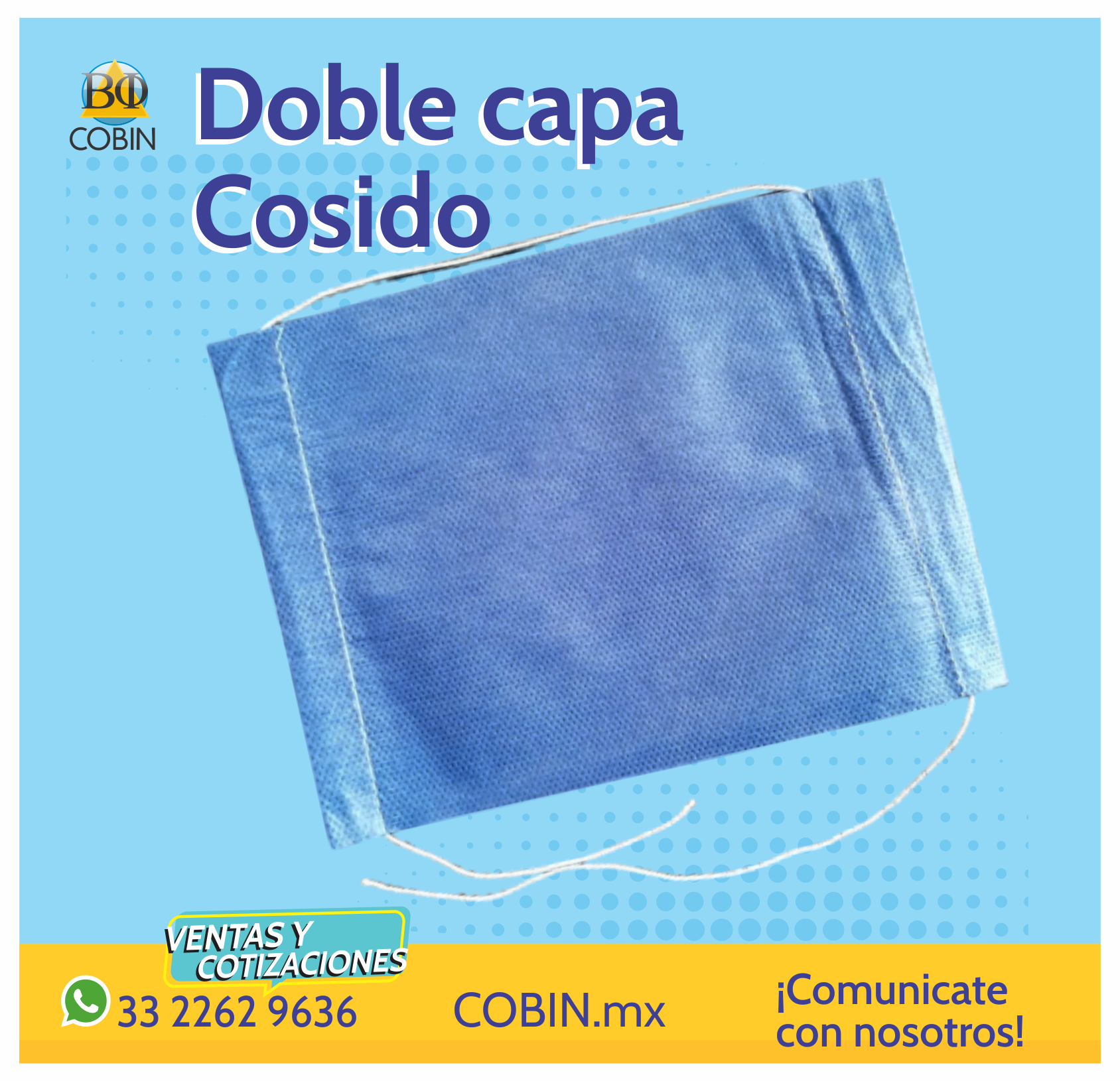 Cubrebocas Doble Capa - cosido